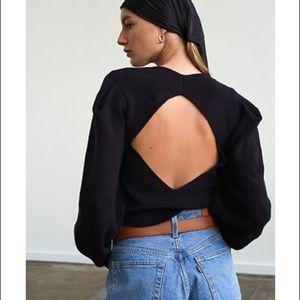 Free People Saffron Puff Sleeve Open back sweater